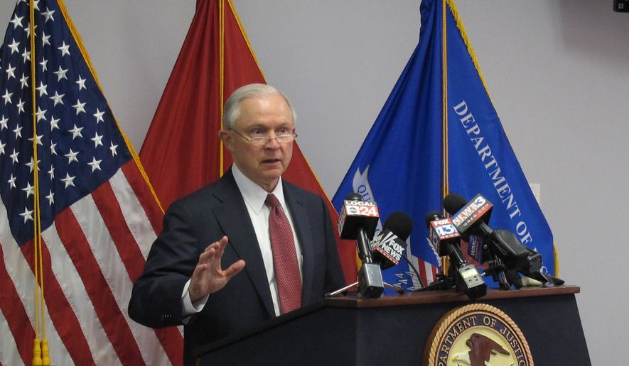 U.S. Attorney General Jeff Sessions speaks to law enforcement officials on Thursday, May 25, 2017 in Memphis, Tenn. Sessions issued a warning Thursday to gang members in Tennessee and around the country, saying that their criminal networks will be devastated as police and prosecutors take a stronger stance on fighting violent crime. (AP Photo/Adrian Sainz)