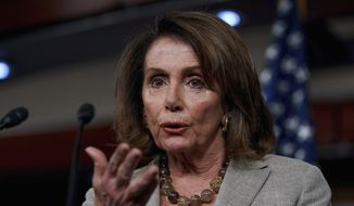 House Minority Leader Nancy Pelosi of California speaks at a news conference on Capitol Hill in Washington on May 25, 2017. (Associated Press) **FILE**