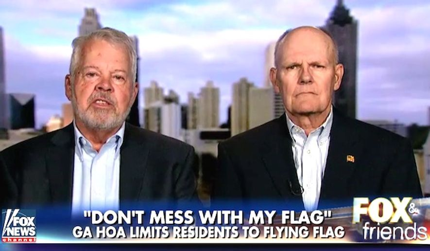 "U.S. Air Force veteran Pete Rockett (left) and Navy veteran Tom Wilder are battlign a Homeowners Association that says American flags threaten the ""theme of the community."" (""Fox and Friends"" screenshot)"