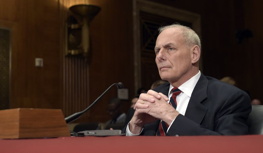 Homeland Security Secretary John Kelly testifies on Capitol Hill in Washington, Thursday, May 25, 2017, before a Senate Appropriations subcommittee on the Homeland Security Department's fiscal 2018 budget. (AP Photo/Susan Walsh) ** FILE **