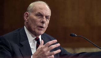 Homeland Security Secretary John Kelly testifies on Capitol Hill in Washington, Thursday, May 25, 2017, before a Senate Appropriations subcommittee on the Homeland Security Department's fiscal 2018 budget. (AP Photo/Susan Walsh)
