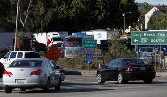 FILE - In this April 21, 2010, file photo, early morning traffic jams the entrance to the 710 Freeway in Alhambra, Calif. A proposed 5-mile tunnel linking two Los Angeles-area freeways could be dead after a transit board rejected the idea. The Los Angeles County Metropolitan Transportation Authority voted Thursday, May 25, 2017, to eliminate the tunnel as an option for closing a gap between the 710 freeway in East Los Angeles and the 210 freeway in Pasadena. (AP Photo/Nick Ut, File)