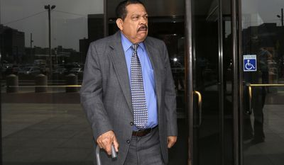 FILE - In this Aug. 22, 2013 file photo, former El Salvadoran military Col. Inocente Orlando Montano departs federal court, in Boston. Defense attorneys say medical care for Montano accused of helping to plot five killings is declining since his transfer to a new facility to await a final decision on his extradition. A lawyer for Morales said in a filing Tuesday, May 23, 2017, that routine blood sugar checks were missed and he has had a fever and other symptoms indicating that he could have a new infection. (AP Photo/Steven Senne, File)