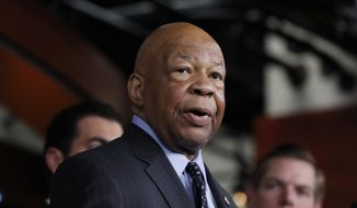 FILE - In this May 17, 2017 file photo, Rep. Elijah Cummings, D-Md. speaks during a news conference on Capitol Hill in Washington. Cummings has undergone a heart procedure and will remain hospitalized for a few days.  (AP Photo/Alex Brandon, File)