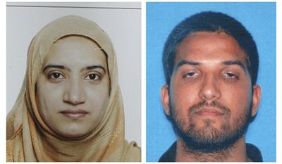 FILE - This undated combination of file photos provided by the FBI, left, and the California Department of Motor Vehicles shows Tashfeen Malik, left, and Syed Farook. Authorities have released a detailed report that includes the accounts of more than two dozen law enforcement officers involved in a shootout with a husband and wife who killed 14 people and wounded 22 others in the San Bernardino terror attack. San Bernardino County prosecutors released the report Thursday, May 25, 2017. It details how officers identified husband-and-wife assailants Syed Rizwan Farook and Tashfeen Malik and a gunfight that ensued after officers tried to stop the fleeing couple. (FBI, left, and California Department of Motor Vehicles via AP, File)