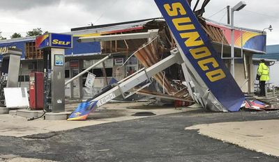 This May 25, 2017, photo provided by WHIO-TV shows the damaged canopy and facade of a Sunoco gas station in New Carlisle, Ohio. Following severe overnight storms in western Ohio, suspected tornado damage was reported Thursday, May 25, 2017, in Clark, Greene and Miami counties north and east of Dayton, Ohio. (McCall Vrydaghs/WHIO-TV via AP)