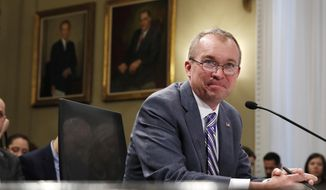 Budget Director Mick Mulvaney listens to a question while testifying on Capitol Hill in Washington, Wednesday, May 24, 2017, before the House Budget Committee hearing on President Donald Trump's fiscal 2018 federal budget. (AP Photo/Jacquelyn Martin)