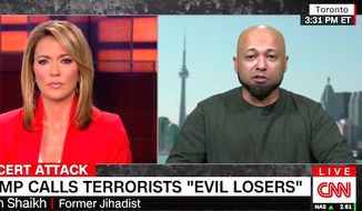 """Former jihadist Mubin Shaikh told CNN on May 26, 2017, that President Donald Trump is """"exactly right"""" to """"demystify"""" terror groups by calling their members """"evil losers."""" (CNN screenshot)"""