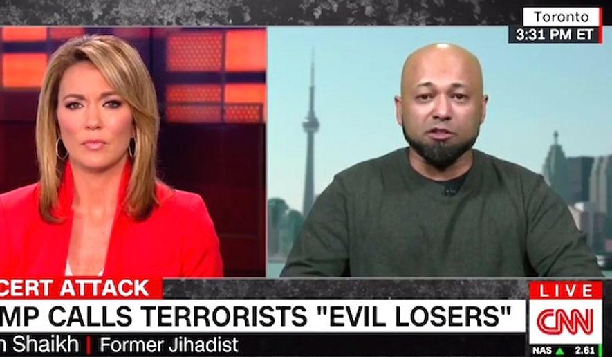 "Former jihadist Mubin Shaikh told CNN on May 26, 2017, that President Donald Trump is ""exactly right"" to ""demystify"" terror groups by calling their members ""evil losers."" (CNN screenshot)"