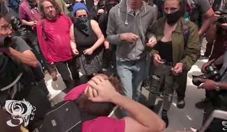 Eric Clanton, a former adjunct professor of philosophy at Diablo Valley College in Pleasant Hill, has been arrested in connection with using a U-shaped bicycle lock to violently attack several people during an April pro-Trump rally in Berkeley, California. (YouTube/@SHUTTERSHOT45)