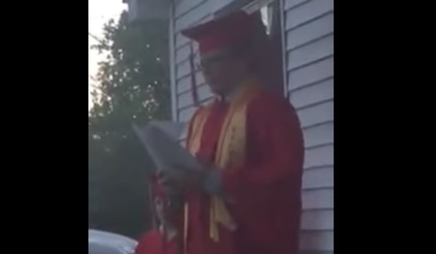 An 8th-grade salutatorian delivered a speech to a crowd of supporters across the street from his graduation ceremony in Illinois after his remarks were banned by the school for mentioning God and the Bible. (YouTube/@Todd Starnes)