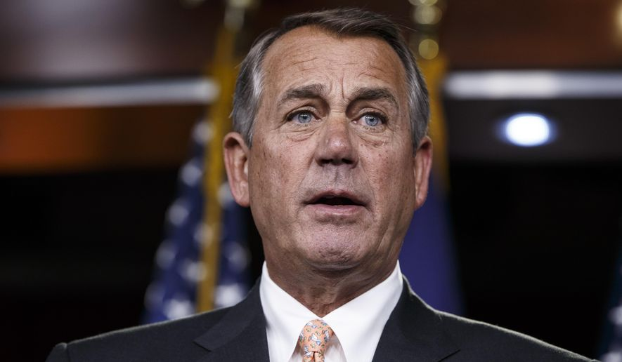 """In this photo taken Feb. 26, 2015, then-House Speaker John Boehner speaks on Capitol Hill in Washington. Boehner says that aside from international affairs and foreign policy, President Donald Trump's time in office has been a """"complete disaster."""" (AP Photo/J. Scott Applewhite) ** FILE **"""