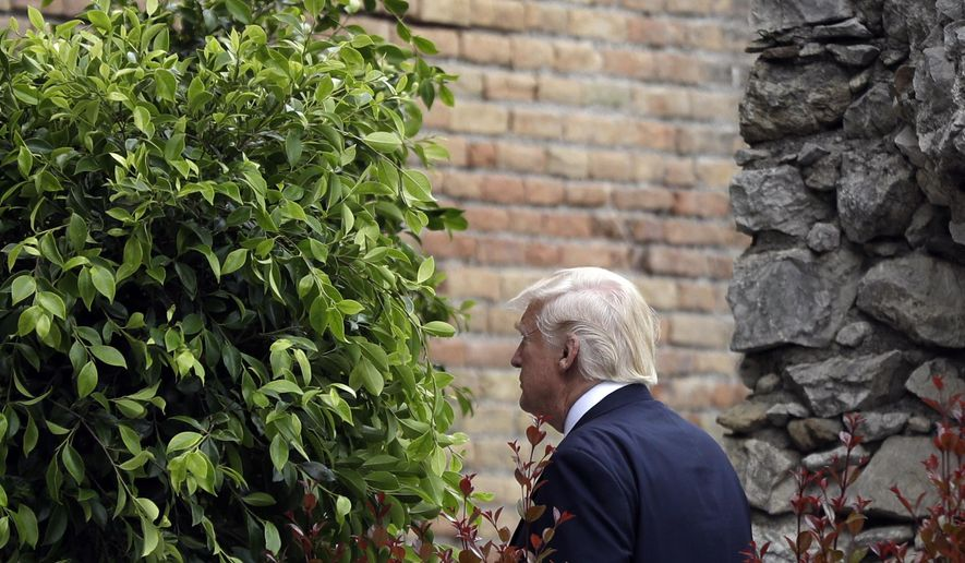 US President Donald Trump arrives for a welcome ceremony for the G7 summit in the Ancient Theatre of Taormina (3rd century BC) in the Sicilian citadel of Taormina, Italy, Friday, May 26, 2017. On Friday and Saturday, for the first time all seven are around the same table, including also newcomers Emmanuel Macron of France, Theresa May of Britain and the Italian host, Paolo Gentiloni, forging a new dynamic after a year of global political turmoil amid a rise in nationalism. (AP Photo/Gregorio Borgia)