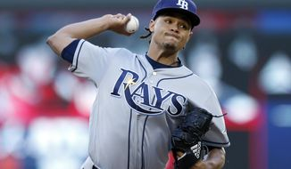 Tampa Bay Rays pitcher Chris Archer throws against the Minnesota Twins in the first inning of a baseball game Friday, May 26, 2017 in Minneapolis. (AP Photo/Jim Mone)