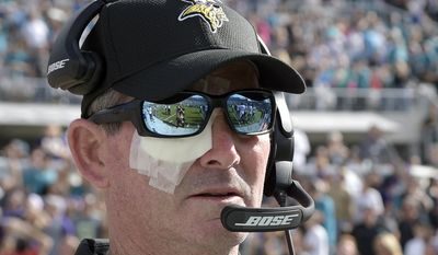 FILE- In this Dec. 11, 2016, file photo, Minnesota Vikings head coach Mike Zimmer wears an eye patch over his right eye during the first half of an NFL football game against the Jacksonville Jaguars in Jacksonville, Fla. Zimmer says he is not going to let the lingering eye issues that caused him to miss practice this week shorten his career. He was told by the team to head home to his ranch in Kentucky this week and skip the team's voluntary practices to reduce the stress on a right eye that has had eight surgeries. (AP Photo/Phelan M. Ebenhack, File)