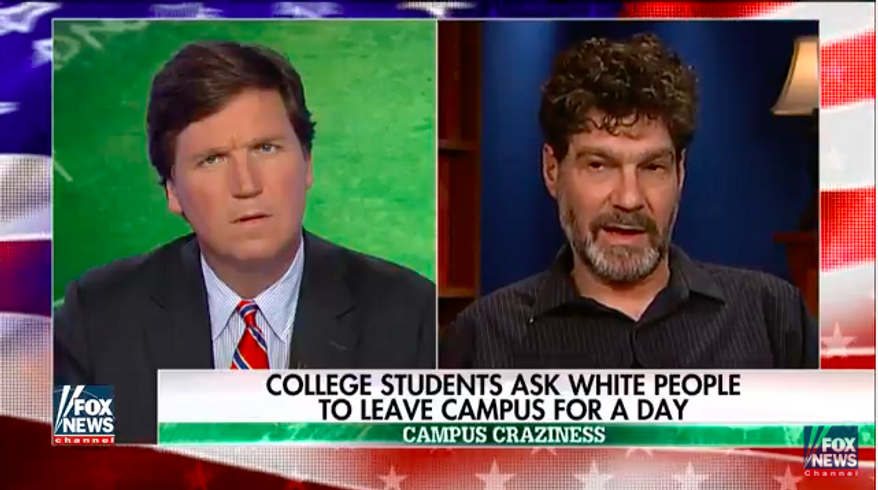 """Bret Weinstein, Evergreen State College professor, shown here from his May 26, 2017 appearance on Fox News Channel's """"Tucker Carlson Tonight"""" program. Mr. Weinstein has been forced to hold his classes off campus due to threats of violence from militant students at the Olympia, Washington, institution."""