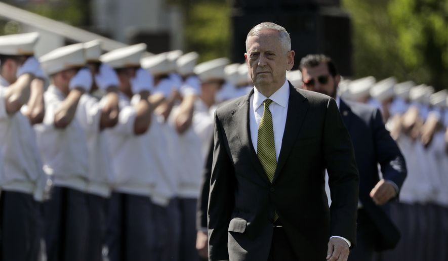 Secretary of Defense James Mattis walks into Michie Stadium to give the commencement address, Saturday, May 27, 2017, in West Point, N.Y. Nine Hundred and thirty six cadets received their diplomas, most of whom will be commissioned as second lieutenants in the army. (AP Photo/Julie Jacobson)