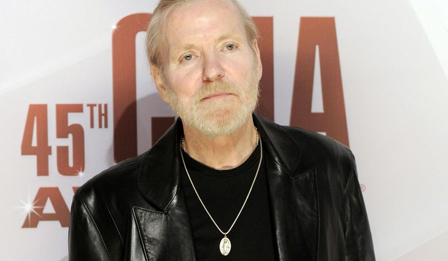FILE - In this Nov. 9, 2011 file photo, singer Gregg Allman arrives at the 45th Annual CMA Awards in Nashville, Tenn. On Saturday, May 27, 2017, a publicist said the musician, the singer for The Allman Brothers Band, has died. (AP Photo/Evan Agostini, file)