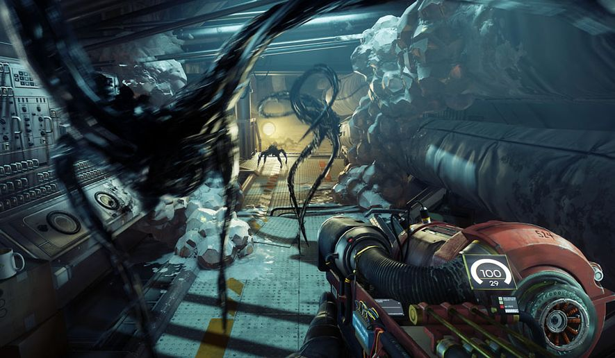 Typhon mimics attack Moragn Yu in the role-playing, first-person video game Prey. (Courtesy Bethesda Softworks)