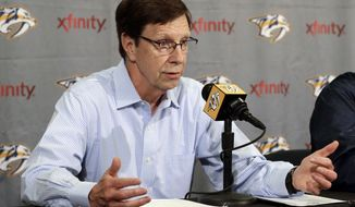 FILE - In this May 18, 2016, file photo, Nashville Predators general manager David Poile answers questions during a news conference in Nashville, Tenn. The Predators are playing in their first Stanley Cup Final against the Pittsburgh Penguins, four wins from the prize Poile has been chasing for decades. The Stanley Cup Final start Monday, May 29, 2017, in Pittsburgh. (AP Photo/Mark Humphrey, File)