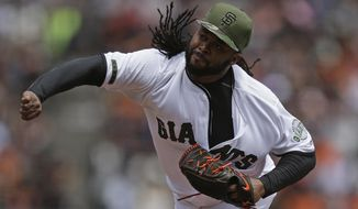 San Francisco Giants pitcher Johnny Cueto works against the Atlanta Braves in the first inning of a baseball game Sunday, May 28, 2017, in San Francisco. (AP Photo/Ben Margot)