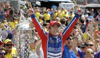 Takuma Sato, of Japan, celebrates after winning the Indianapolis 500 auto race at Indianapolis Motor Speedway, Sunday, May 28, 2017, in Indianapolis. (AP Photo/Darron Cummings)