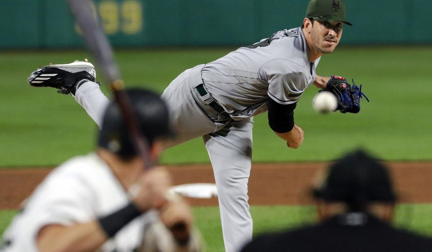 New York Mets starting pitcher Matt Harvey delivers in the fourth inning of a baseball game against the Pittsburgh Pirates in Pittsburgh, Sunday, May 28, 2017. (AP Photo/Gene J. Puskar)
