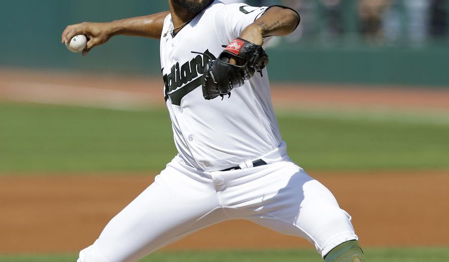 Cleveland Indians starting pitcher Danny Salazar delivers in the first inning of a baseball game against the Kansas City Royals, Saturday, May 27, 2017, in Cleveland. (AP Photo/Tony Dejak)
