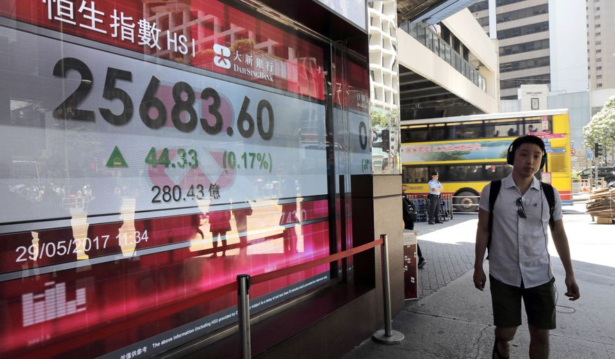 A man walks past an electronic board showing Hong Kong share index outside a local bank in Hong Kong, Monday, May 29, 2017. Stock markets in Asia were subdued in holiday-thinned trading Monday as investors hunkered down ahead of a raft of economic data later this week that will provide fresh insight into the world economy. (AP Photo/Vincent Yu)