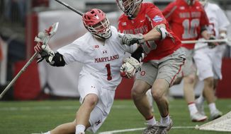 Maryland's Matt Rambo (1) moves with the ball against Ohio State's Ben Randall (40) during the second half of the NCAA college Division 1 lacrosse championship final, Monday, May 29, 2017, in Foxborough, Mass. (AP Photo/Elise Amendola)