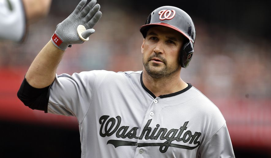Washington Nationals' Ryan Zimmerman celebrates after hitting a home run off San Francisco Giants' Matt Moore in the second inning of a baseball game Monday, May 29, 2017, in San Francisco. (AP Photo/Ben Margot)