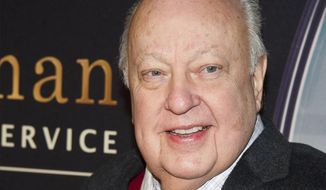 "Roger Ailes attends a special screening of ""Kingsman: The Secret Service"" in New York, Feb. 9, 2015. The death of the Fox News founder has left questions about how it could impact the backlog of lawsuits accusing his network of sexual harassment and racial discrimination. (Photo by Charles Sykes/Invision/AP) ** FILE **"