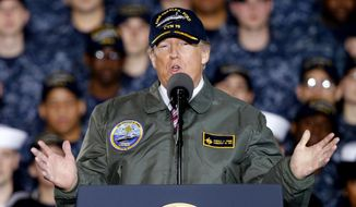 President Trump aboard an aircraft carrier in Norfolk, Virginia, addressing U.S. Navy personnel and shipyard workers. (AP Photo) ** FILE **