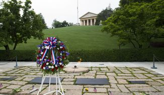A wreath is placed at the grave of former President John F. Kennedy, to mark the 100th anniversary of his birth, at Arlington National Cemetery in Arlington, Va., Monday, May 29, 2017. Kennedy was born May 29, 1917. (AP Photo/Cliff Owen)