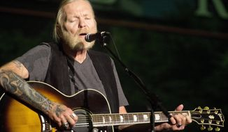 In this May 16, 2016 photo, Rock and Roll Hall of Famer Gregg Allman performs during Mercer University's Commencement Saturday at Hawkins Arena in Macon, Ga. Allman received an honorary Doctor of Humanities degree. On Saturday, May 27, 2017, his manager said the musician has died. He was 69. (Jason Vorhees/The Macon Telegraph via AP)
