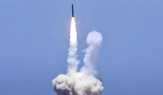 An rocket designed to intercept an intercontinental ballistic missiles is launched from Vandenberg Air Force Base in Calif. on Tuesday, May 30, 2017. The Pentagon says it has shot down a mock warhead over the Pacific in a success for America's missile defense program. The test was the first of its kind in nearly three years. And it was the first test ever targeting an intercontinental-range missile like North Korea is developing. (Matt Hartman via AP)