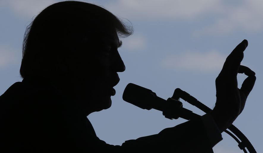 President Donald Trump addresses U.S. military troops and their families at the Sigonella Naval Air Station, in Sigonella, Italy, Saturday, May 27, 2017. (AP Photo/Luca Bruno)