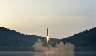 This image made from video of an undated still image broadcasted in a news bulletin on Tuesday, May 30, 2017, by North Korea's KRT shows a missile launch. North Korean state television (KRT) aired on Tuesday video of North Korean leader Kim Jong Un apparently giving field guidance at the test fire of a Scud-type ballistic missile, which reportedly took place the previous day. Independent journalists were not given access to cover the event depicted in this photo.  (KRT via AP Video) **FILE**