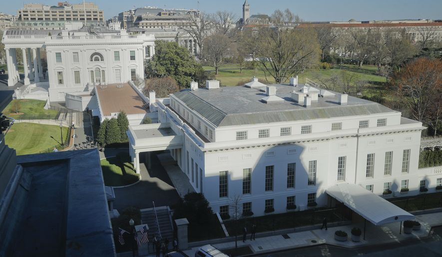 The main residence of the White House in Washington and the West Wing (right) is seen here from the Eisenhower Executive Office Building on the White House complex in Washington on March 29, 2017. (Associated Press) **FILE**