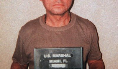 "ADDS NAME OF PHOTOGRAPHER AND LOCATION OF PHOTO - FILE - This January 1990 file photo provided by the Department of Justice shows deposed Panamanian Gen. Manuel Antonio Noriega at Homestead Air Force Base south of Miami, Florida, upon his arrival in the United States to stand trial for drug trafficking. The former Panamanian dictator died late Monday, May 29, 2017, at age 83. Panamanian President Juan Carlos Varela wrote in his Twitter account that ""the death of Manuel A. Noriega closes a chapter in our history."" (Steven Aumand/Department of Justice via AP, File)"