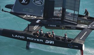 In this photo provided by the America's Cup Event Authority, Great Britain's Land Rover BAR competes against Sweden's Artemis Racing (not shown) during America's Cup qualifying on the Great Sound in Bermuda on Tuesday, May 30, 2017.  (Ricardo Pinto/ACEA via AP)