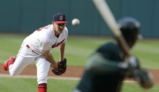 Cleveland Indians starting pitcher Trevor Bauer delivers to Oakland Athletics' Rajai Davis in the first inning of a baseball game, Tuesday, May 30, 2017, in Cleveland. (AP Photo/Tony Dejak)