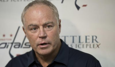 FILE - In this Sept. 23, 2016 file photo, Washington Capitals' general manager Brian MacLellan speaks to reporters in Arlington, Va. MacLellan has the power to completely remake the Washington Capitals in the wake of another early playoff exit, and a salary-cap crunch could force his hand.  (AP Photo/Manuel Balce Ceneta, File)