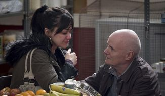 "This image released by Sundance Selects shows Hayley Squires, left, and Dave Johns in a scene from, ""I, Daniel Blake."" (Joss Barratt/Sundance Selects via AP)"