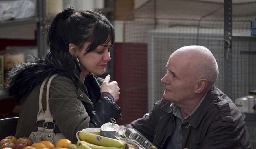 """This image released by Sundance Selects shows Hayley Squires, left, and Dave Johns in a scene from, """"I, Daniel Blake."""" (Joss Barratt/Sundance Selects via AP)"""