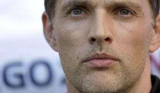 FILE - In this May 27, 2017 file photo Dortmund's head coach Thomas Tuchel arrives for the German soccer cup final match between Borussia Dortmund and Eintracht Frankfurt in Berlin, Germany. (AP Photo/Michael Sohn, file)