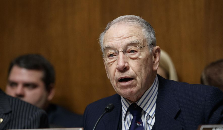 Senate Judiciary Committee Chairman Sen. Chuck Grassley, Iowa Republican, speaks on Capitol Hill in Washington on March 7, 2017. (Associated Press) **FILE**