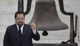 FILE - In this Aug. 28, 2013 file photo, NAACP president and CEO Benjamin Jealous speaks at the Let Freedom Ring ceremony at the Lincoln Memorial in Washington to commemorate the 50th anniversary of the 1963 March on Washington for Jobs and Freedom. The former NAACP head announced Tuesday, May 30, 2017, that he will seek the Democratic nomination for governor of Maryland, and the candidate will formally make the announcement at a news conference in Baltimore on Wednesday. (AP Photo/Carolyn Kaster, File)