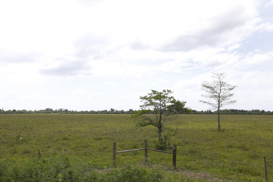 In this, Friday, May 26, 2017 photo, land is shown where developers are proposing American Dream Miami, a massive 200-acre project on the edge of the Everglades in bustling South Florida that would dwarf any other shopping mecca in North America. Miami-Dade County officials could vote this fall to approve it. (AP Photo/Wilfredo Lee)