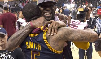 FILE - In this May 27, 2016, file photo, Cleveland Cavaliers forward LeBron James celebrates the team's win over the Toronto Raptors with J.R. Smith after Game 6 of the NBA basketball Eastern Conference finals,  in Toronto. This was the sixth time (fifth straight) LeBron James advanced to the NBA Finals. (Frank Gunn/The Canadian Press via AP, File)
